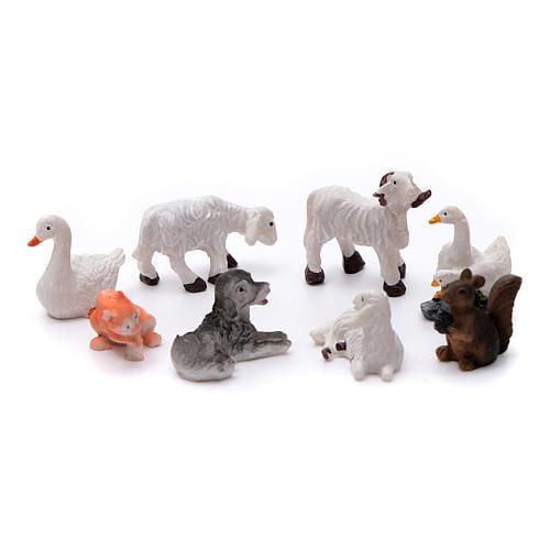 Animais 8 peças resina pintada para presépio de altura média 10 cm 1