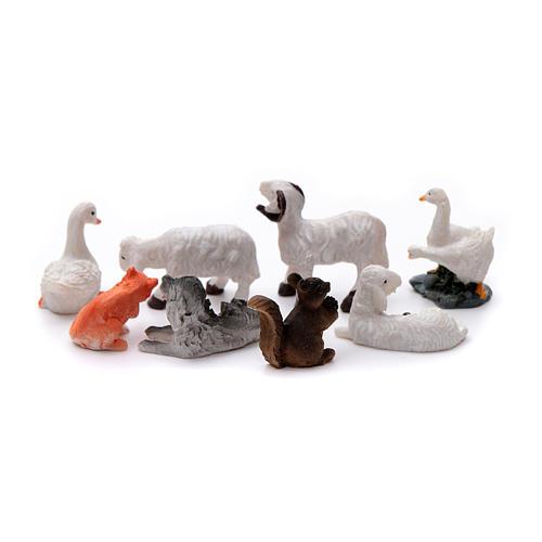 Animais 8 peças resina pintada para presépio de altura média 10 cm 2