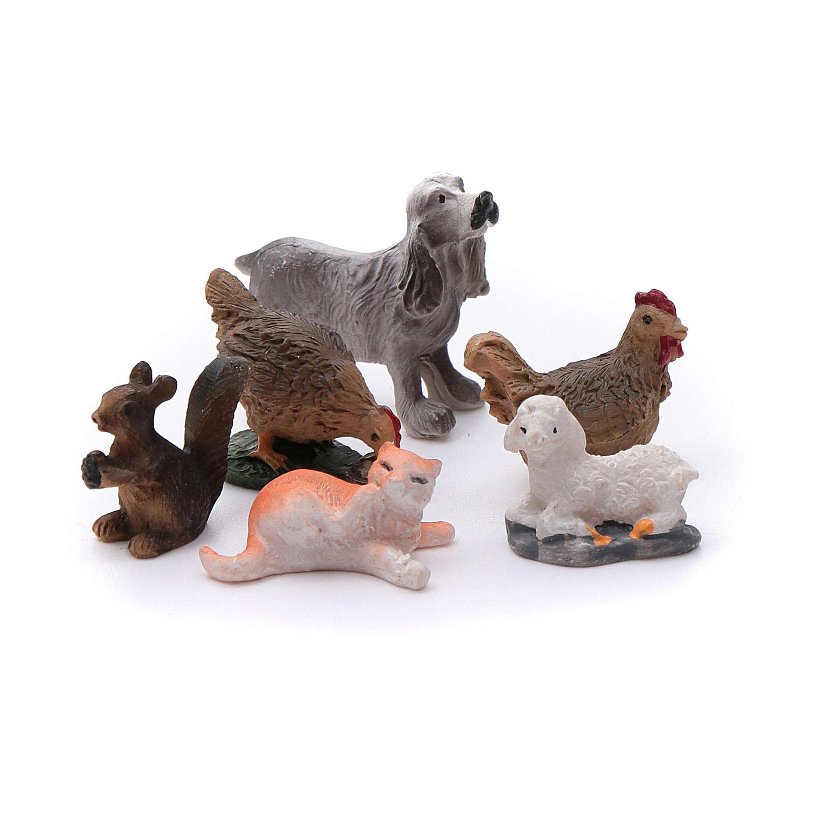 Animales 12 piezas resina pintada para belén 3