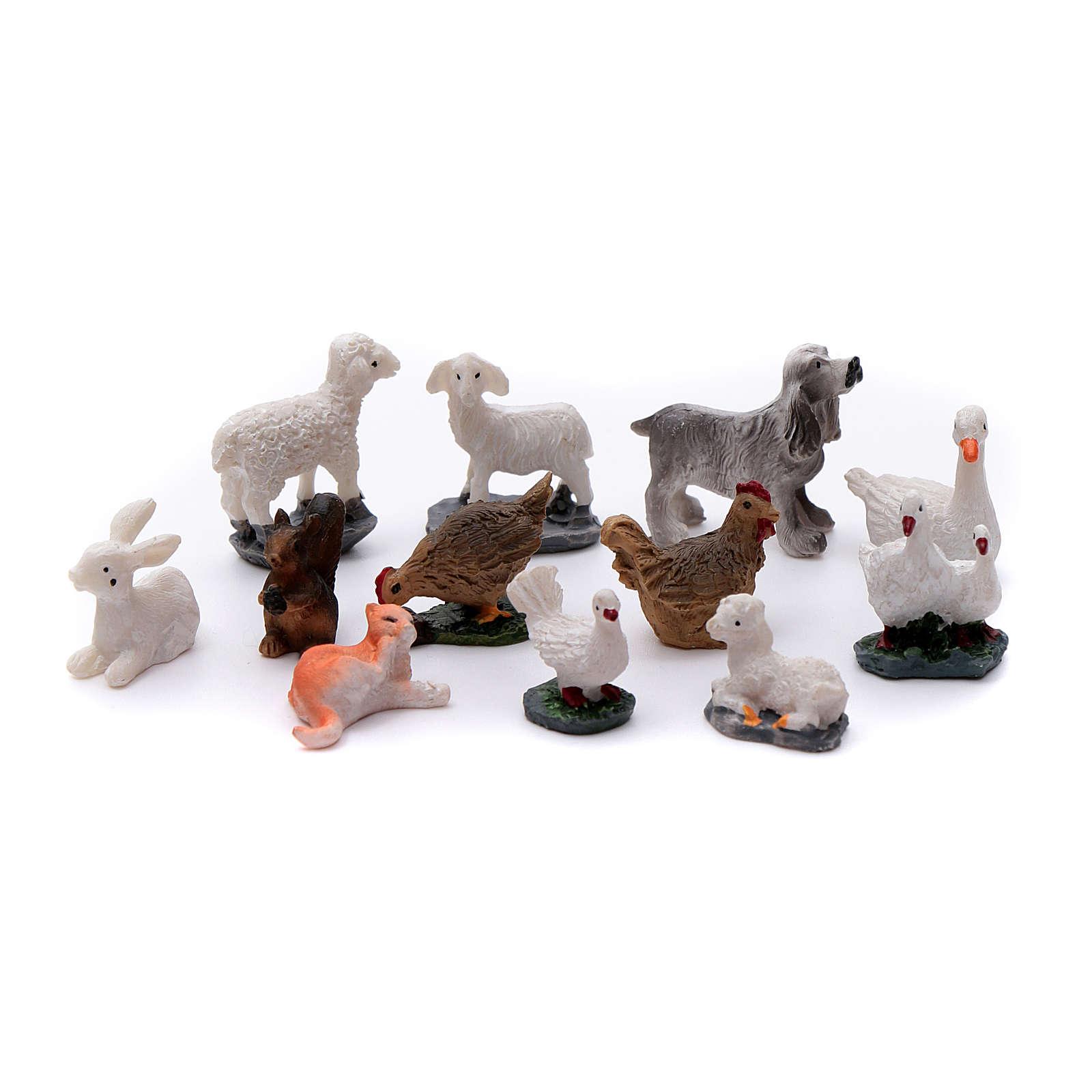 Animais 12 peças resina pintada para presépio 3