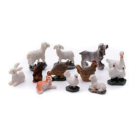 Animais 12 peças resina pintada para presépio s1