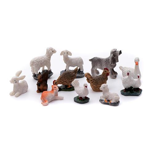 Animais 12 peças resina pintada para presépio 1