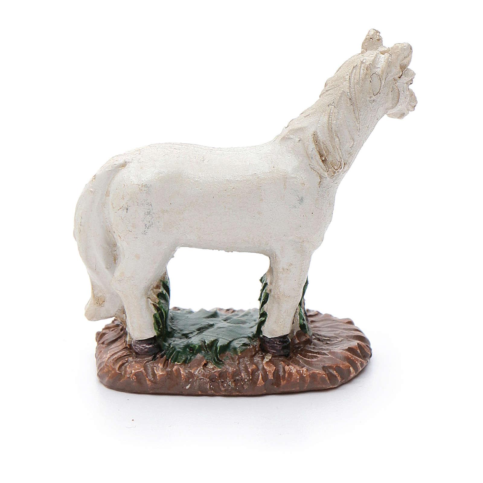 Crib white horse in resin 3