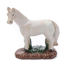 Cavallo in resina bianco per presepe 6 cm s1