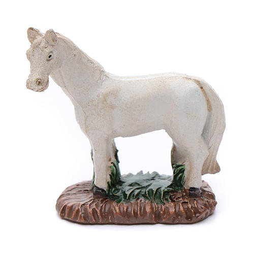 Cavallo in resina bianco per presepe 6 cm 1