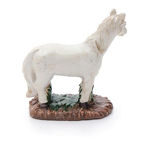 Cavallo in resina bianco per presepe 6 cm 2