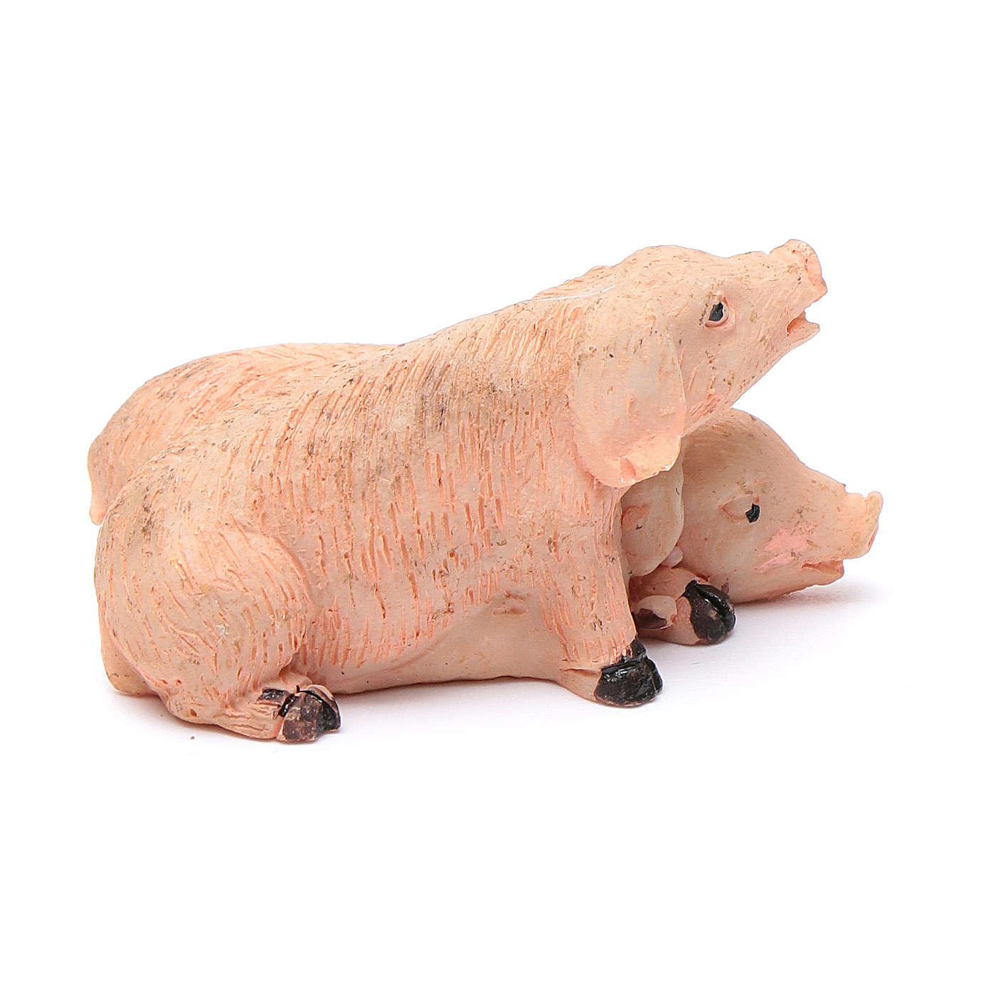 Cerdos pareja de resina para belén 10 cm 3