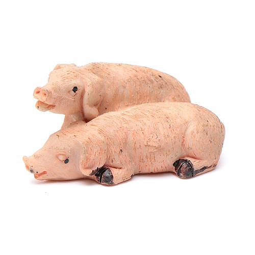 Cerdos pareja de resina para belén 10 cm 1