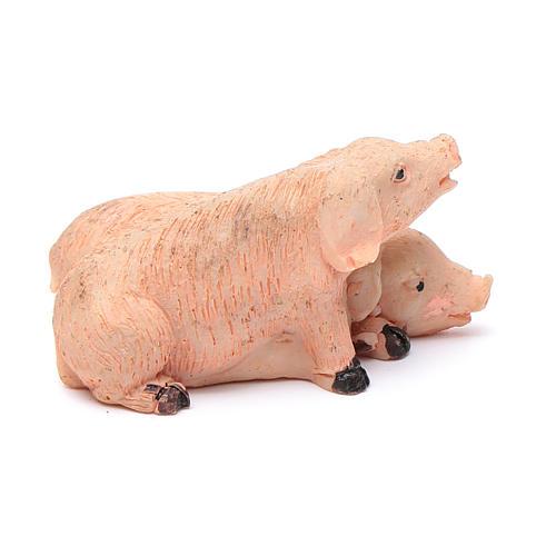 Cerdos pareja de resina para belén 10 cm 2