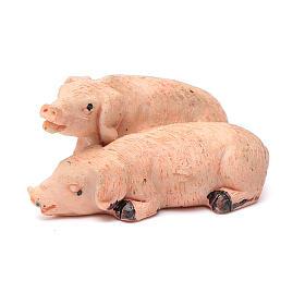 Cochons couple en résine pour crèche 10 cm s1