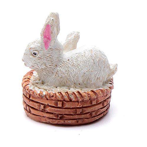 Coniglietti in cesta resina per presepe 6 cm 2