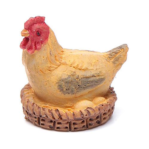 Poule avec panier résine pour crèche 13 cm 1