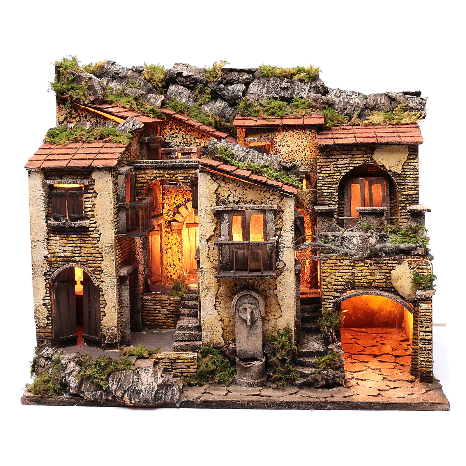 Village with lights and fountain 50x60x40 cm for Neapolitan nativity scene 4