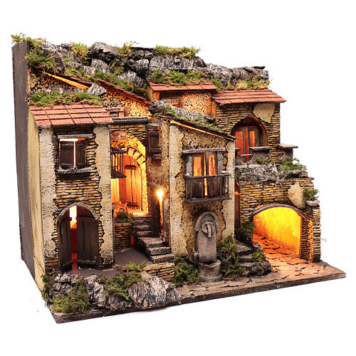 Village with lights and fountain 50x60x40 cm for Neapolitan nativity scene 3