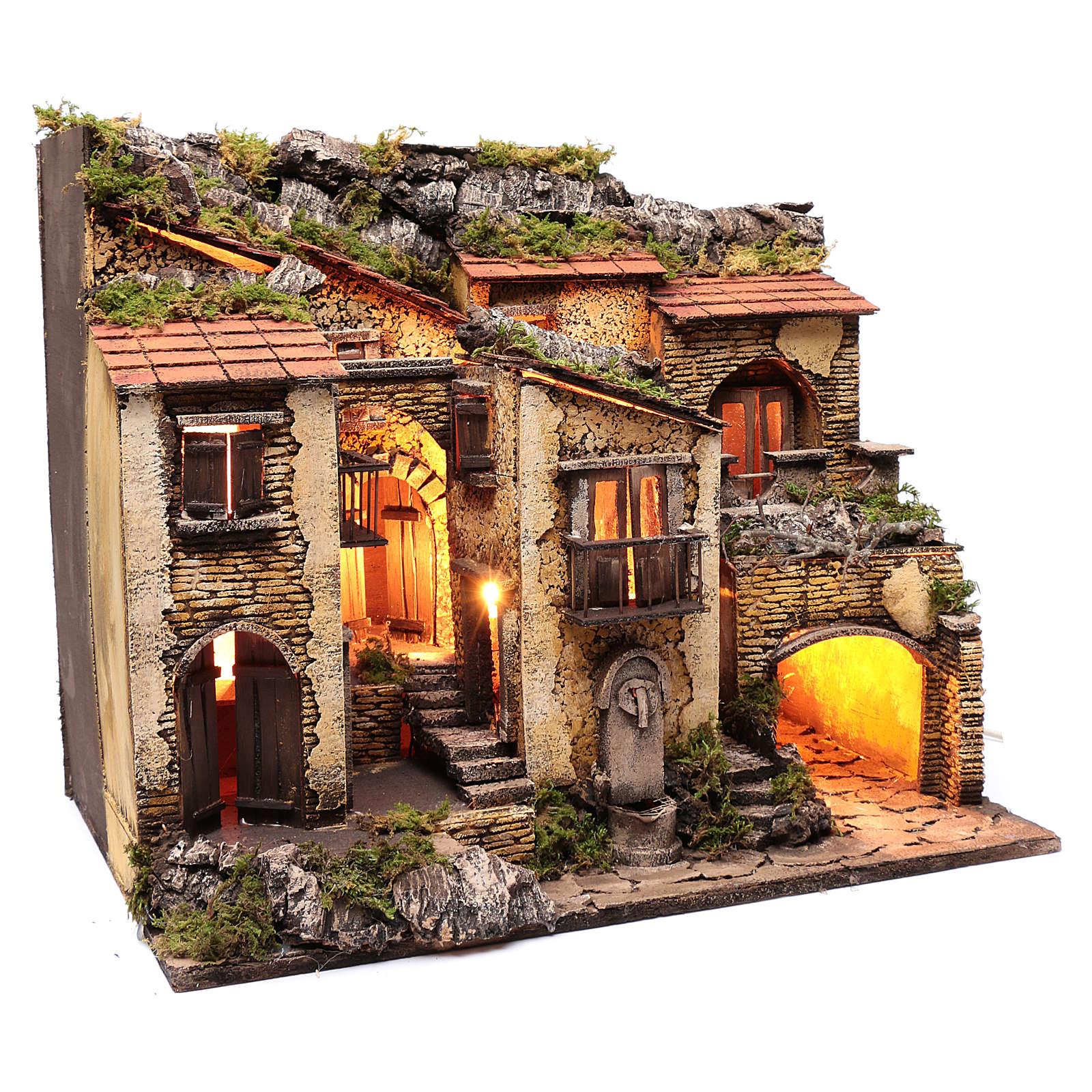 Borgo con luce e fontanella 50x60x40 cm presepe di Napoli 4