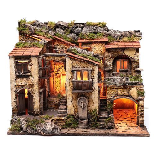 Borgo con luce e fontanella 50x60x40 cm presepe di Napoli 1