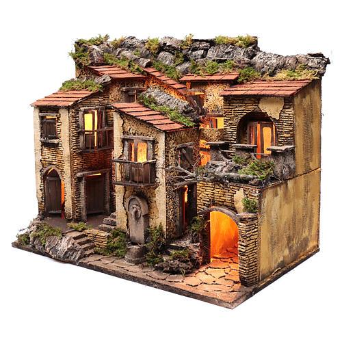 Borgo con luce e fontanella 50x60x40 cm presepe di Napoli 2