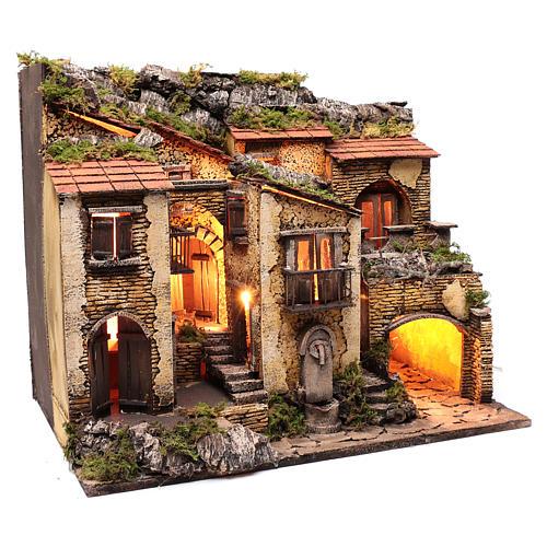 Borgo con luce e fontanella 50x60x40 cm presepe di Napoli 3