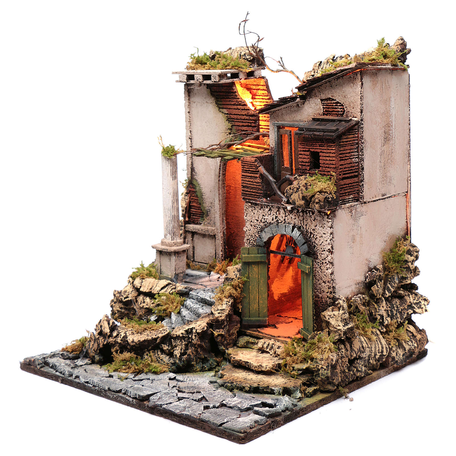 Neapolitan nativity scene setting temple ruin 45x40x50 cm 4