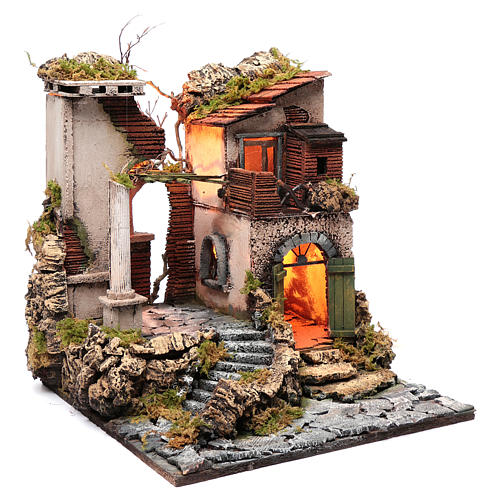 Neapolitan nativity scene setting temple ruin 45x40x50 cm 3