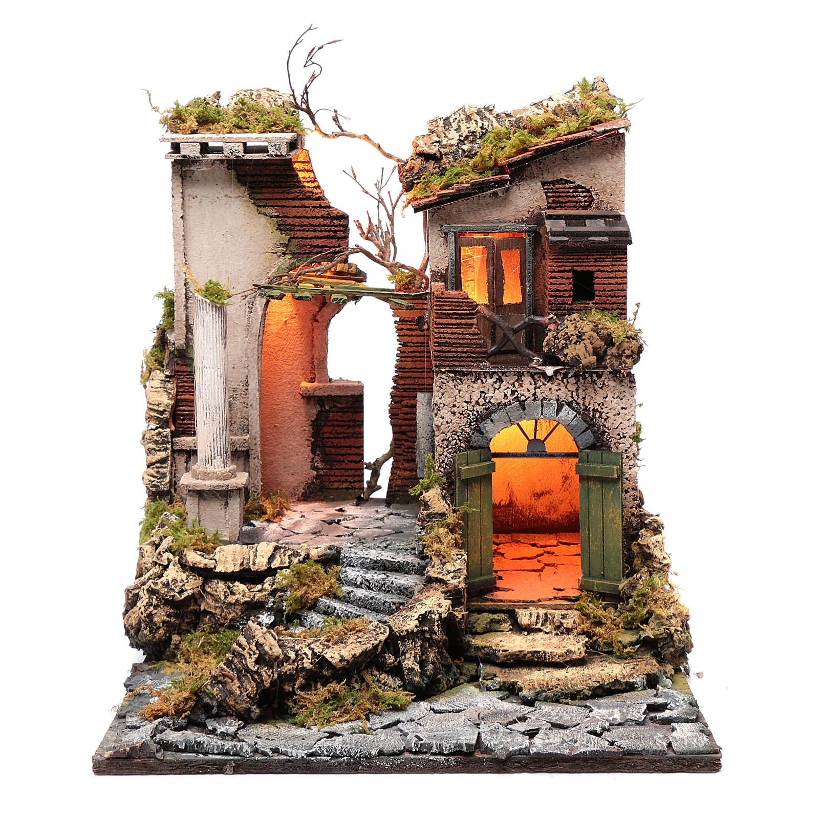 Ambientazione tempio rudere 45x40x50 cm presepe Napoli 4