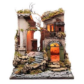 Ambientazione tempio rudere 45x40x50 cm presepe Napoli s1
