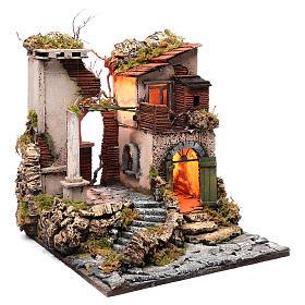 Ambientazione tempio rudere 45x40x50 cm presepe Napoli s3