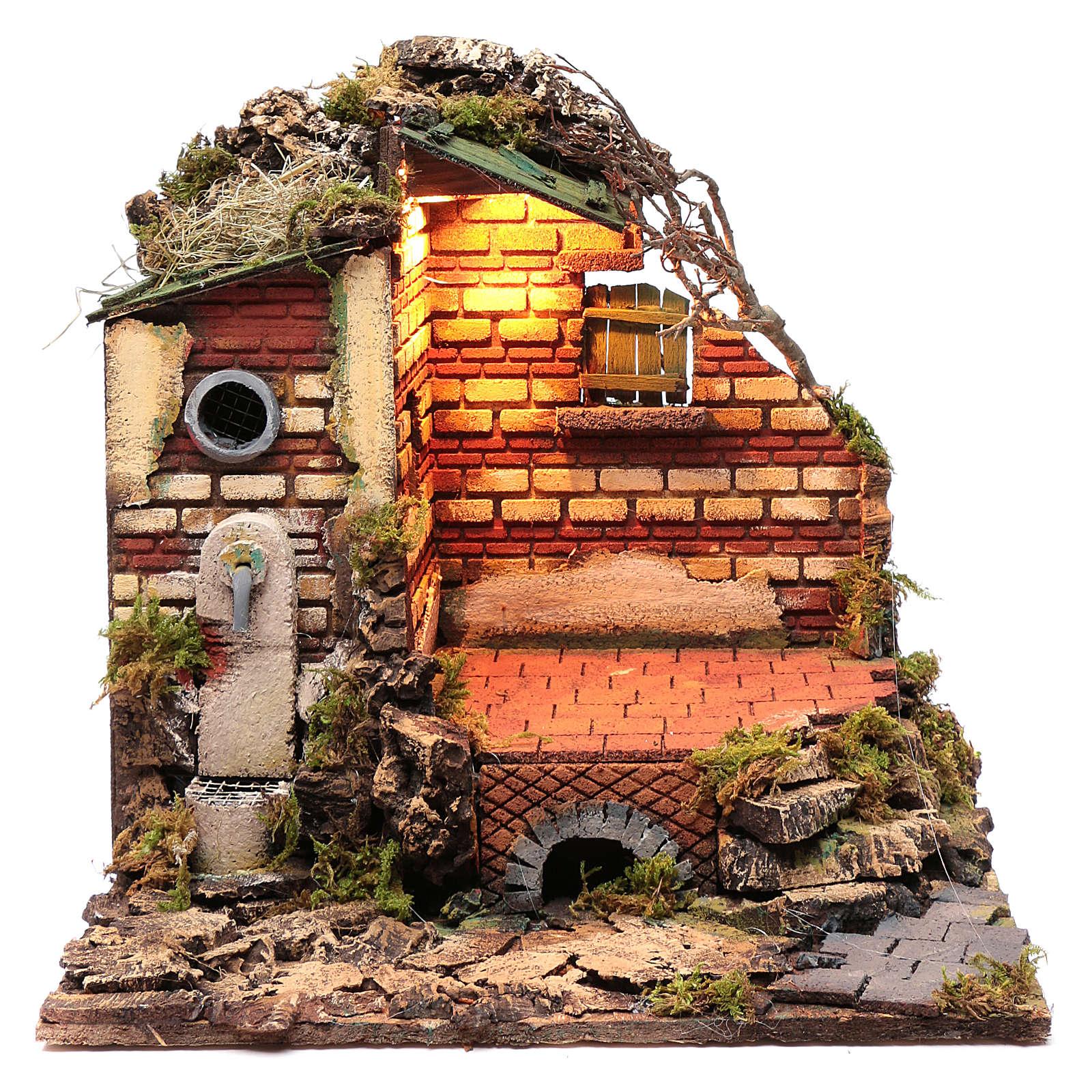 Décor dans ruines fontaine et éclairage crèche de Naples 38x39,5x34,2 cm 4
