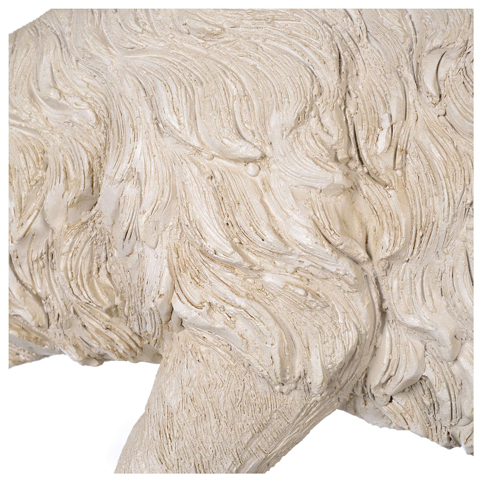 Pecora testa bassa resina presepe 80-100 cm 3