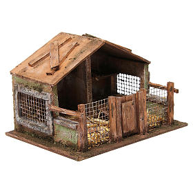 Coop with net and trough for 12 cm nativity scene s3