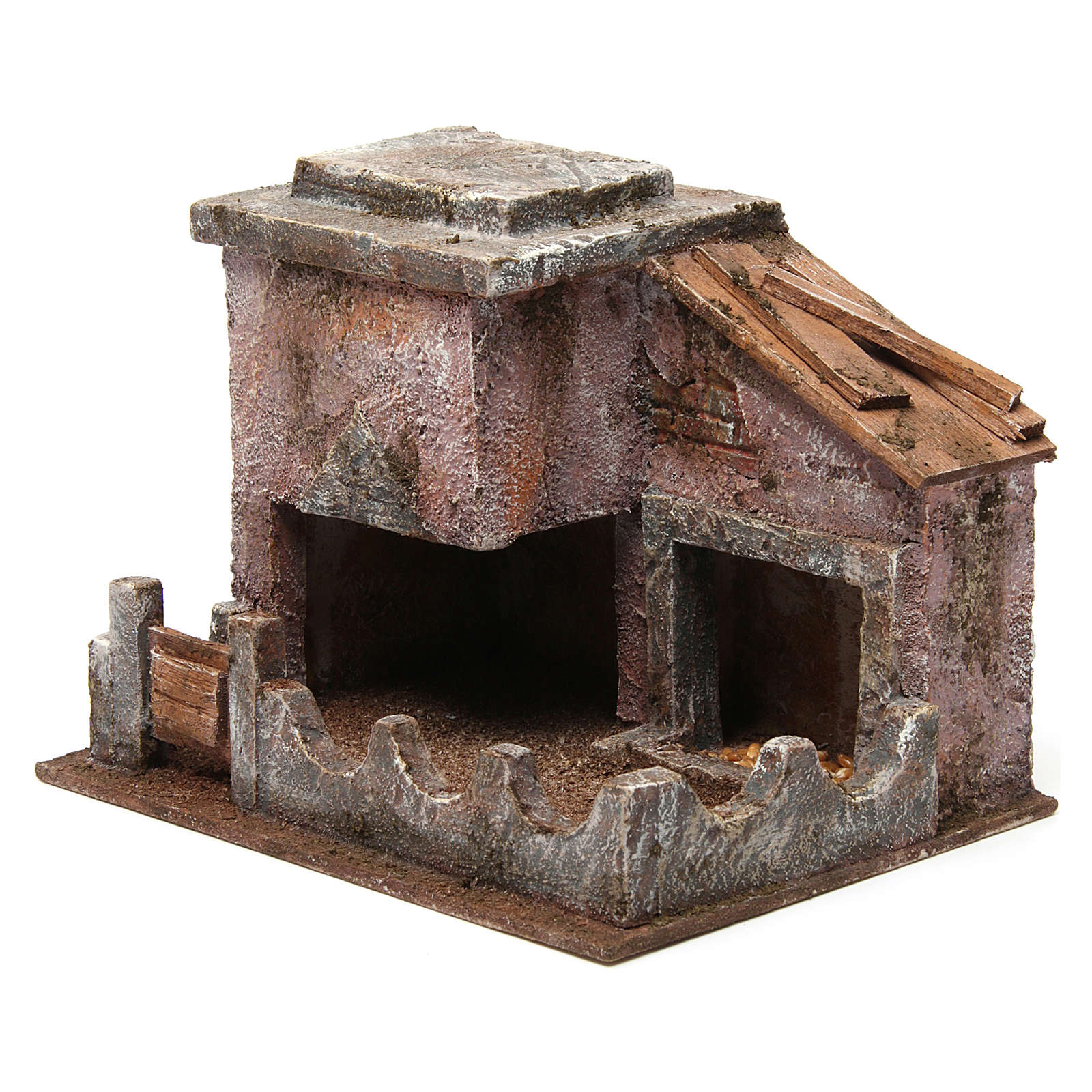 Animal shelter with manger for 10 cm nativity scene 3
