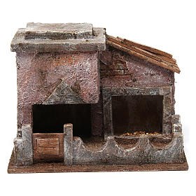 Animal shelter with manger for 10 cm nativity scene s1