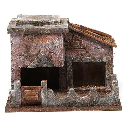 Animal shelter with manger for 10 cm nativity scene 1