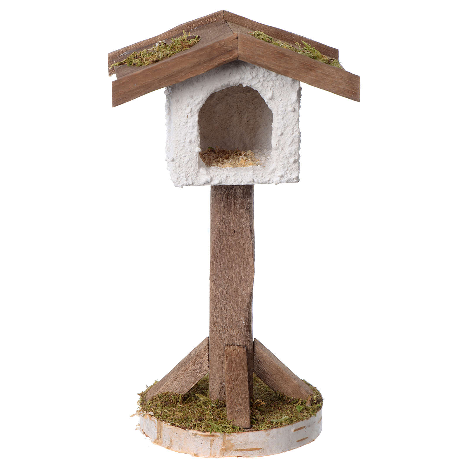 Birdhouse in wood and plaster for 10-12 cm nativity scene 3