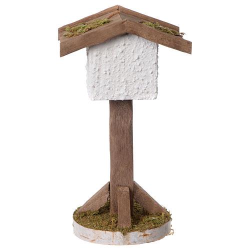Birdhouse in wood and plaster for 10-12 cm nativity scene 2
