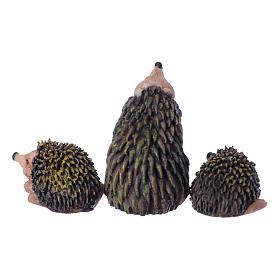 Conjunto 3 peças família de ouriços para presépio 10-12 cm em resina pintada s3