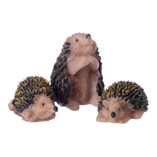 Conjunto 3 peças família de ouriços para presépio 10-12 cm em resina pintada 1