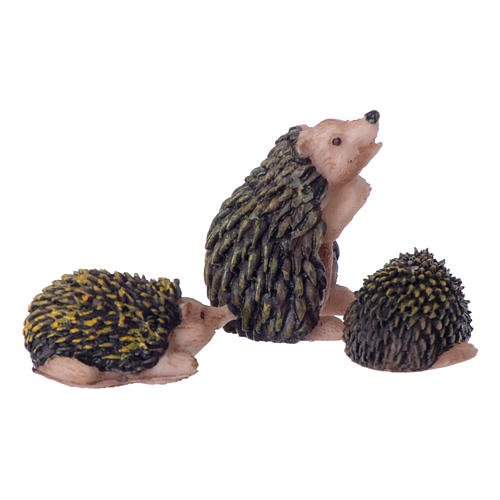 Set 3 pcs Hedgehog Family for 10-12cm Nativity in painted resin 2