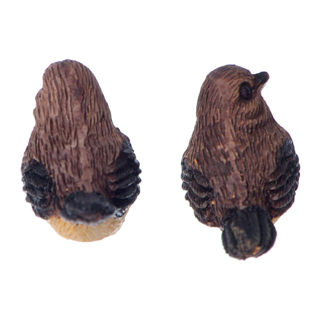 Set coppia di uccelli per presepe 10-12 cm in resina dipinta 3