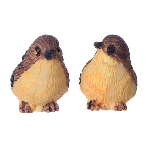 Set coppia di uccelli per presepe 10-12 cm in resina dipinta 2
