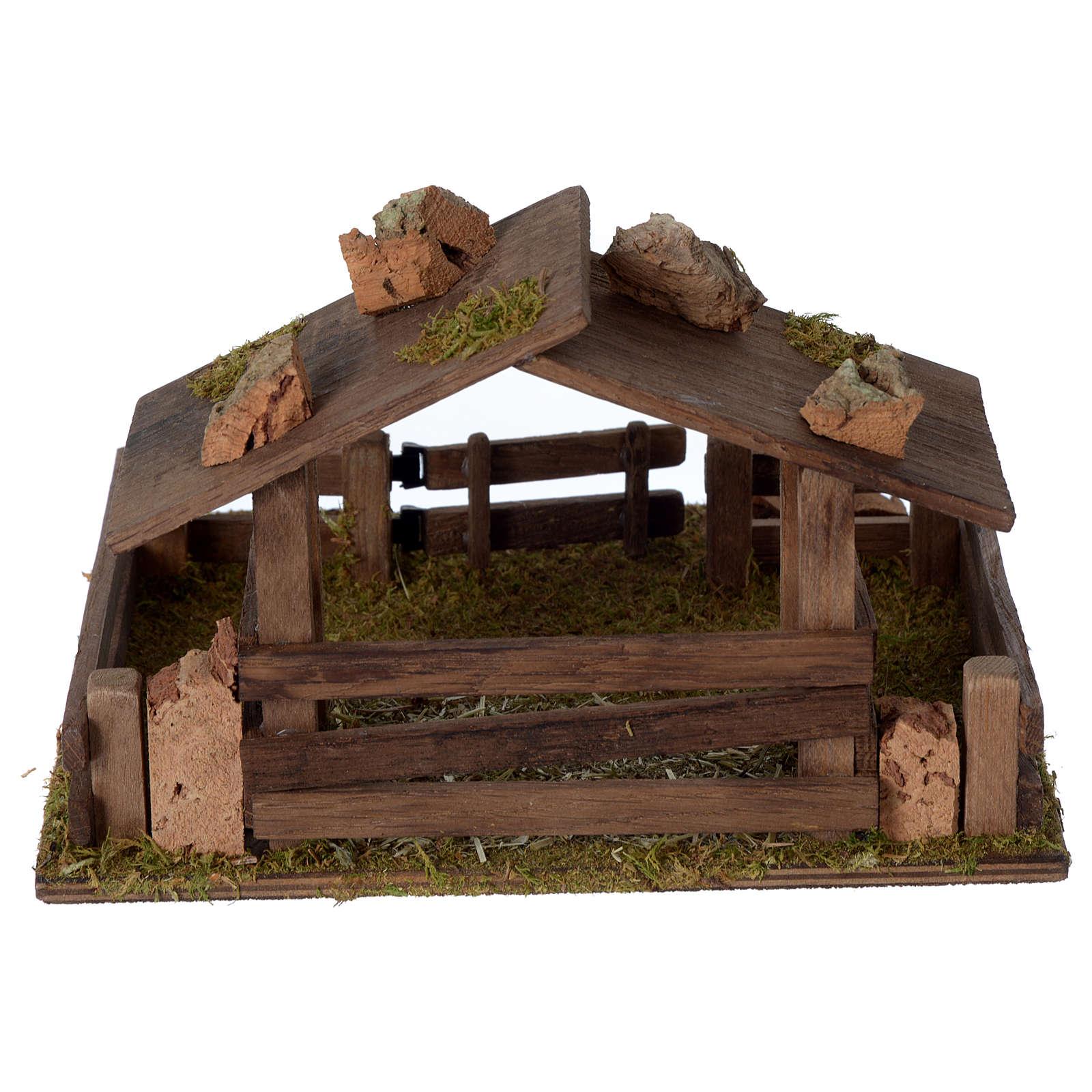 Recinto con tettoia in legno 15x20x20 cm per presepe 10-12 cm 3