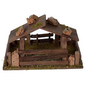 Recinto con tettoia in legno 15x20x20 cm per presepe 10-12 cm s4