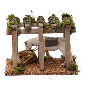 Porch with horse at the trough 10x20x10 cm for Nativity Scene 10 cm s1