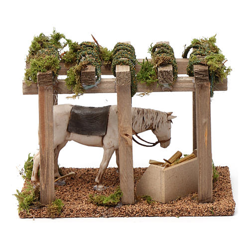 Porch with horse at the trough 10x20x10 cm for Nativity Scene 10 cm 4