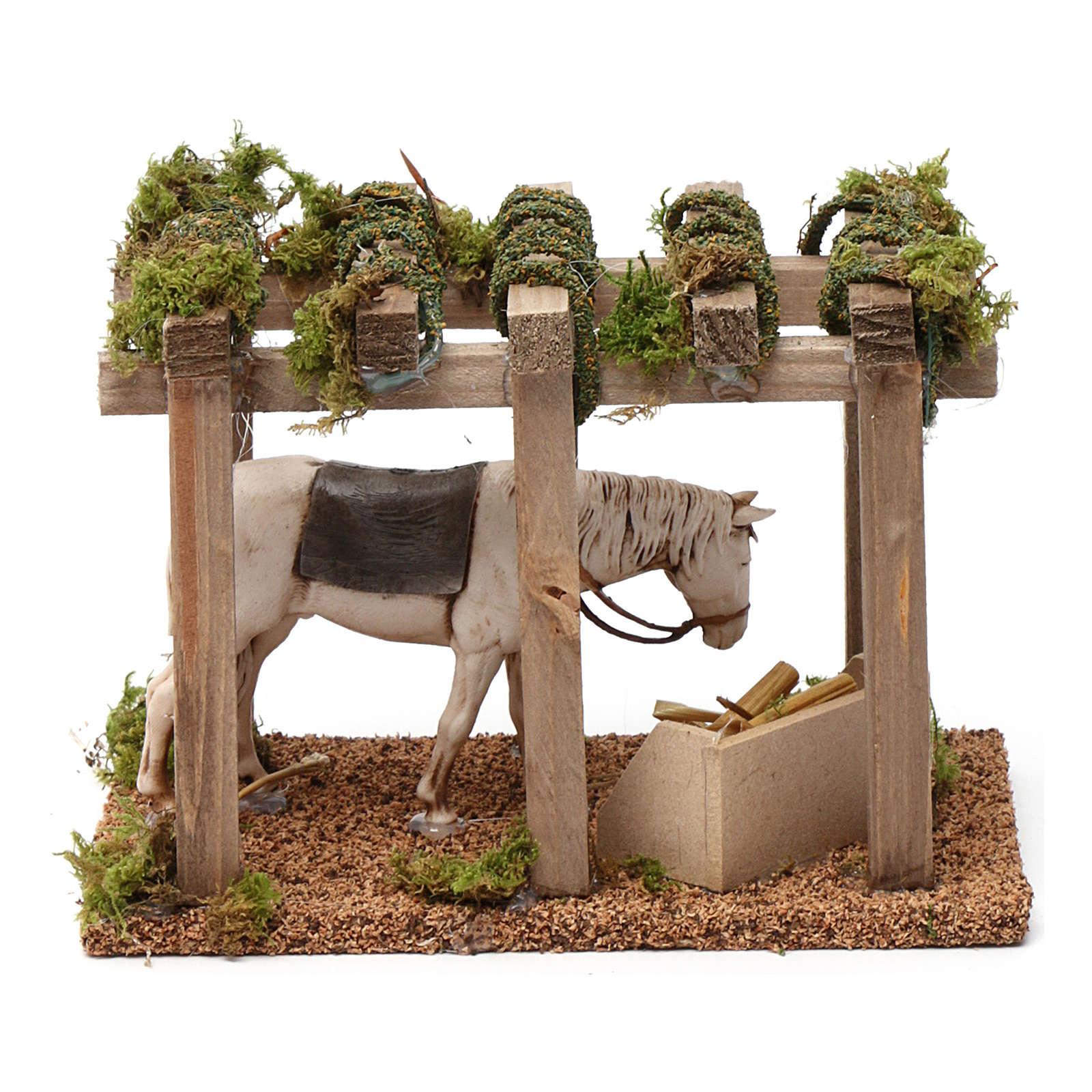 Portico con cavallo alla mangiatoia 10X20X10 cm per figure presepe 10 cm 3
