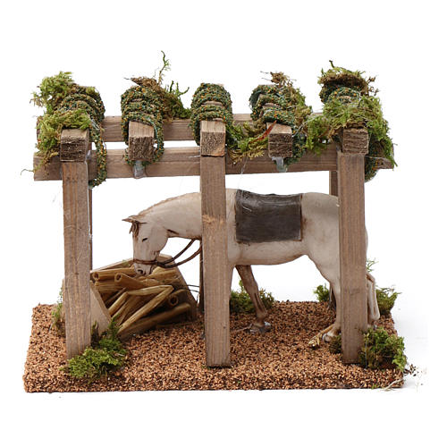 Portico con cavallo alla mangiatoia 10X20X10 cm per figure presepe 10 cm 1