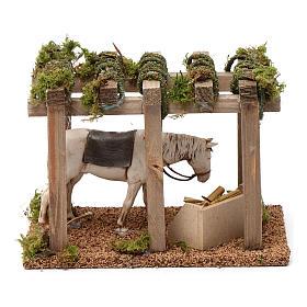 Pórtico com cavalo na manjedoura 10x20x10 cm para peças presépio 10 cm s4