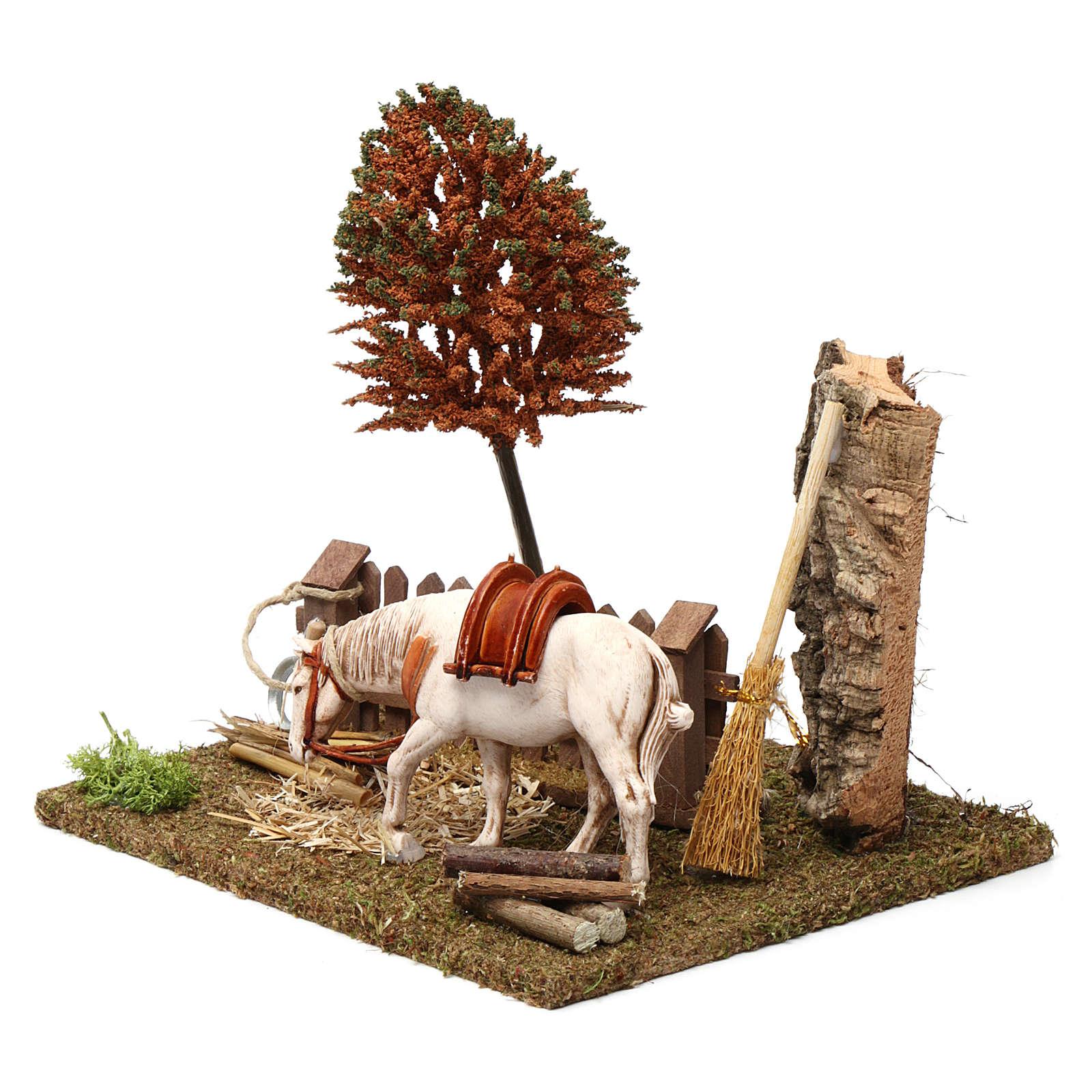 Cavallo alla palizzata, albero, falce 15X20X20 cm per figure presepe 10 cm 3