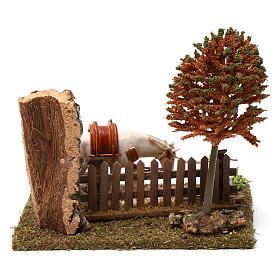 Cavallo alla palizzata, albero, falce 15X20X20 cm per figure presepe 10 cm s4