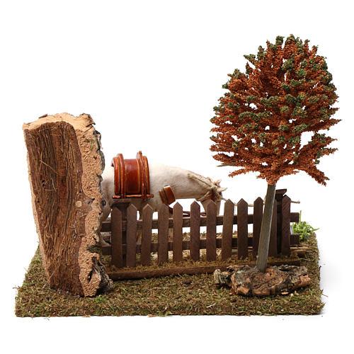 Cavallo alla palizzata, albero, falce 15X20X20 cm per figure presepe 10 cm 4